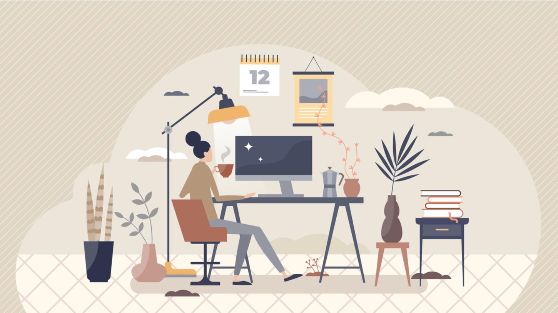 女性がパソコンで仕事をしている
