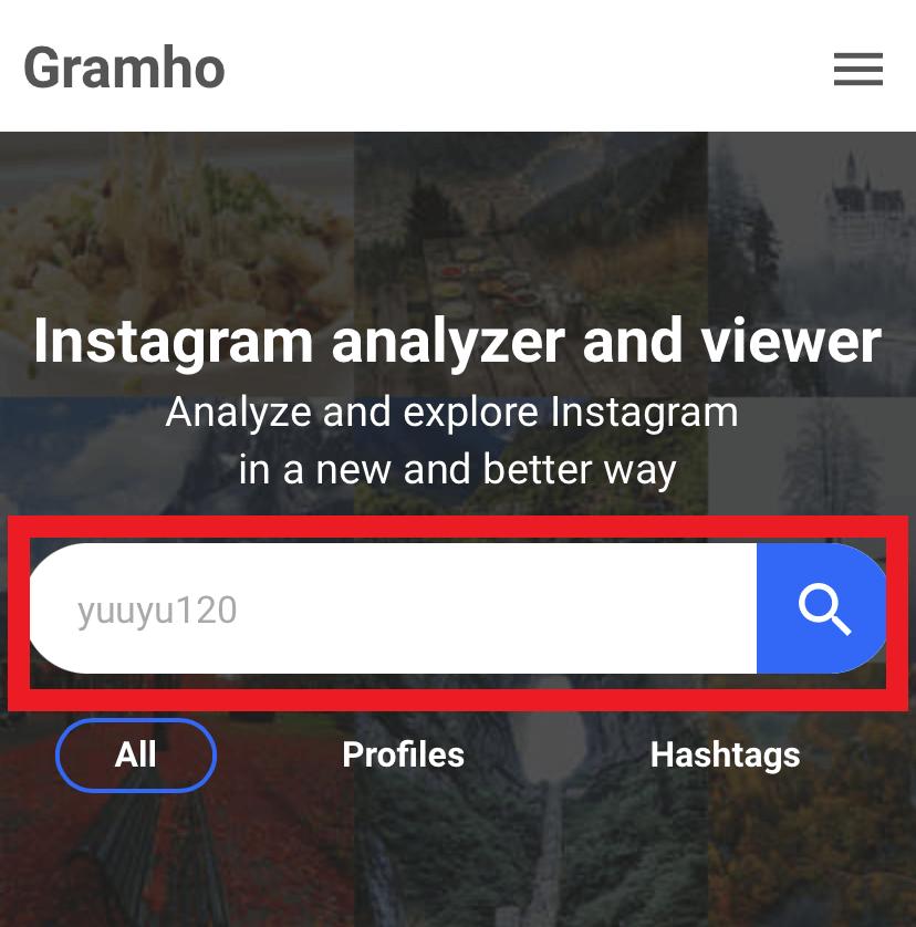 検索欄にアカウント情報を入力する
