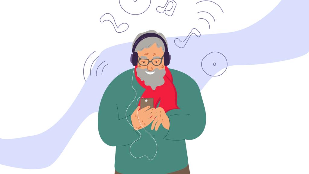 男性がインスタで音楽を聴いている