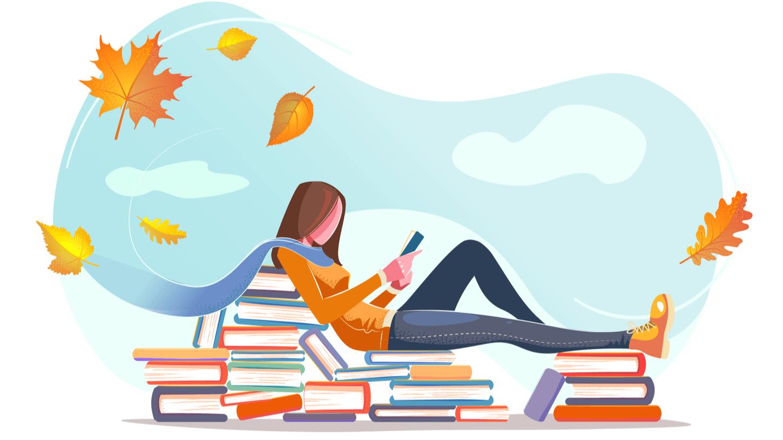 女性がスマホで漫画を読んでいる